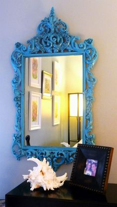 Turquoise mirror--looking for inspiration for an outdoor frame and mirror project.