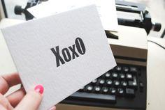 XOXO Letterpress flat cards set of 5pcs. by FunkyPrintStudio