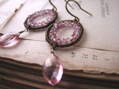 SUGAR KISSES earrings with pink mystic quartz $32 #etsyfollow @shadow Shadow Shadow