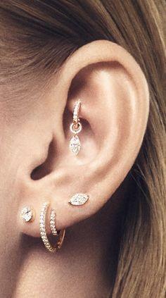 SALE Rook Piercing - Tragus Piercing - Helix Piercing - Cartilage Piercing - Oak Leaf Charm - Rook Jewelry - Choose Your Style - Custom Jewelry Ideas Rook Piercing Jewelry, Ear Jewelry, Cartilage Earrings, Body Jewelry, Women's Earrings, Maria Tash Earrings, Rook Earring, Ear Piercing Studs, Piercing Tattoo