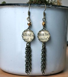 Simple and elegant vintage book page dangle earrings are just the right length to accentuate and complement a women's neck. {Details} • 12mm antiqued brass settings • 3 brass tassels/chains • nickel f
