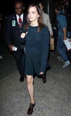 Emma Watson (celebrity) : sweater + circle skirt + brogues : tomboy look