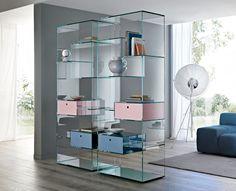 Tonelli Liber Large Glass Bookcase | Tonelli Design | Modern Bookcases