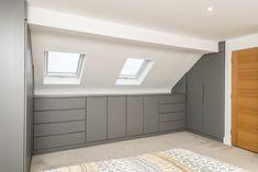 How to maximise space in your loft conversion Attic Bedroom Storage, Attic Bedroom Designs, Loft Storage, Closet Bedroom, Upstairs Bedroom, Eaves Storage, Bedroom Ideas, Bedroom Decor, Loft Conversion Wardrobes