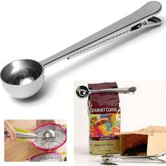 Stile caldo universale Strumento di Cottura Inox 1 Tazza di Caffè Macinato Heathful Misura Scoop Cucchiaio con Clip di Tenuta Sacchetto di Buon Aiuto