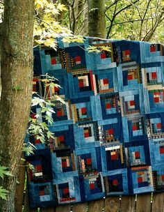 Blue Jean Quilt Sewing Pattern Instructions Easy Blanket Throw Denim Log Cabin Rustic Country Prim