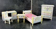Dollhouse Miniature Hand Painted Pastel Single Bedroom Furniture Set | eBay