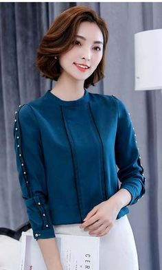 womens tops and blouses Fashion Wear, Ootd Fashion, Asian Fashion, Fashion Outfits, Dress Neck Designs, Blouse Designs, Modest Dresses, Nice Dresses, Formal Tops For Women