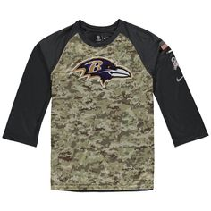 dac6c4427d5 Youth Baltimore Ravens Nike Camo/Charcoal Salute to Service Legend  Three-Quarter Raglan Sleeve