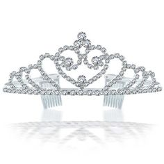Bling Jewelry Rhinestone Crystal Bridal Tiara Heart Crown Silver Plated -- undefined #HairSideCombs