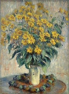 Claude Monet Jerusalem Artichoke Flowers print for sale. Shop for Claude Monet Jerusalem Artichoke Flowers painting and frame at discount price, ships in 24 hours. Pierre Auguste Renoir, Claude Monet, Monet Paintings, Impressionist Paintings, Flower Paintings, Edgar Degas, Flower Canvas Art, Canvas Wall Art, Philippe De Champaigne