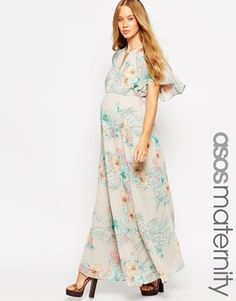 ASOS Maternity 70's Maxi Dress In Faded Floral With Flutter Sleeve