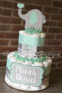 2 Tier Mint and Gray Elephant Diaper Cake, Mint Grey Chevron Elephant, Gender Ne. - 2 Tier Mint and Gray Elephant Diaper Cake, Mint Grey Chevron Elephant, Gender Neutral Baby Shower C - Small Diaper Cakes, Elephant Diaper Cakes, Diaper Cake Boy, Diy Baby Shower Decorations, Baby Shower Centerpieces, Budget Baby Shower, Baby Shower Gifts, Chevron Gris, Babyshower