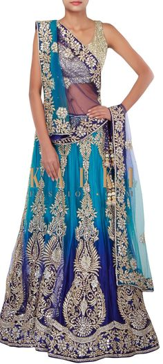 Buy Online from the link below. We ship worldwide (Free Shipping over US$100) http://www.kalkifashion.com/shaded-lehenga-in-royal-and-peacock-blue-adorn-in-zardosi-and-kundan-embroidery-only-on-kalki.html