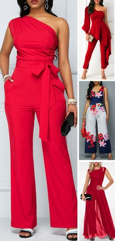 One Shoulder Zipper Closure Rose Red Jumpsuit When you have a night event and you don't know what to wear this Rose Red Jumpsuit is going to save your life. Classy Outfits, Chic Outfits, Fashion Outfits, African Fashion Dresses, African Dress, Latest Fashion For Women, Womens Fashion, Red Jumpsuit, Mode Outfits