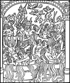 Infernal punishment for the Seven Deadly Sins: the greedy are put into cauldrons of boiling oil. From Le grant kalendrier des Bergiers, printed by Nicolas le Rouge, Troyes, 40 Days Of Lent, Maleficarum, Occult Art, Danse Macabre, World Religions, My Demons, Seven Deadly Sins, Medieval Art, Dark Ages
