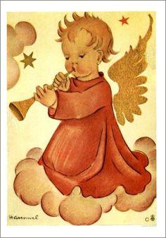 Hummel .......   Engel blaast op de trompet.