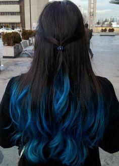 Blue Black Hair Tips And Styles Dark Blue hair Dye Styles Dark Blue Hair Dye, Blue Tips Hair, Ombre Hair Color, Cool Hair Color, Blue Dip Dye Hair, Blue Brown Hair, Dark Purple, Ombre Brown, Tip Dyed Hair