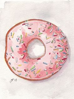 Pink Donut Watercolor Painting Print, Doughnut with Pink Frosting and Sprinkles from Above, 5x7 Print | jojolarue - Painting on ArtFire