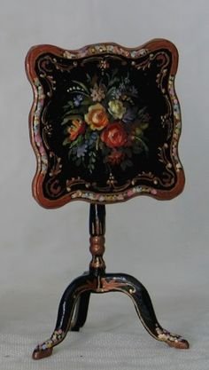 Victorian Floral Tilt-Top Table by Natasha - $495.00 : Swan House Miniatures, Artisan Miniatures for Dollhouses and Roomboxes