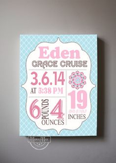 Birth Announcement Print Baby Girl Nursery Wall Art - Brooklyn Collection - Canvas Art - Match with Brooklyn Bedding Set, Pink and Aqua by MuralMAX on Etsy https://www.etsy.com/listing/201260063/birth-announcement-print-baby-girl