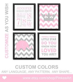 baby girl birth date art, pink grey birth art print, birth stats wall art, girl birth announcement with crown, personalized new baby gifts by PinkeeArt, $29.00