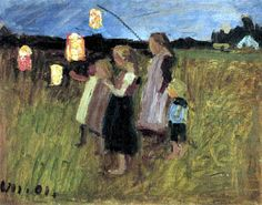 Children with lanterns to Otto Modersohn we manufacture for you on watercolor paper, canvas or poster paper. Paula Modersohn Becker, Balloon Lanterns, Paper Lanterns, Russian Painting, Figure Painting, Franz Marc, Karl Hofer, Ludwig Meidner, George Grosz