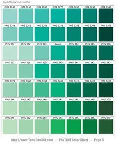 PANTONE Color Chart - (green with more yellow than blue): Pantone Verde, Paleta Pantone, Teal Color Schemes, Teal Colors, Teal Green Color, Summer Colors, Green Rooms, Bedroom Green, Pantone Color Chart