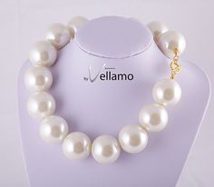 Large faux pearl necklace cream white huge faux by byVellamo