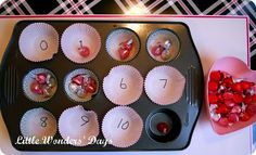 Tot Tray- muffin tin, numbered muffin cups, kisses as counters