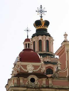 The towers of St. Casimir Church in Vilnius, Lithuania.  ** I love the hat shaped roof top.