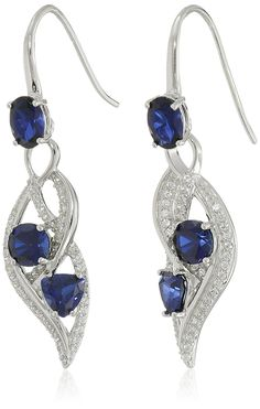 Sterling Silver, Created Gemstone, and Created White Sapphire Wave Dangle Earrings ** Click image to review more details.