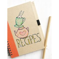 Recipe Book with Bunny original illustration and color on recycled... (264.620 IDR) ❤ liked on Polyvore featuring home, home decor, rabbit home decor and bunny home decor