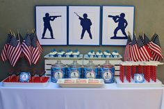 I like the jar ideas as centerpieces Military Send Off Party Ideas, Military Retirement Parties, Military Party, Army Party, Nerf Party, Navy Party Themes, Us Navy Party, Blue Party, Army's Birthday