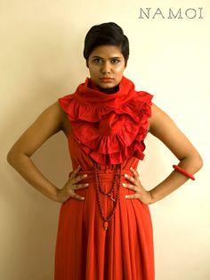 NAMOI designs: red wool ruffle scarf