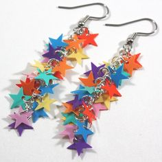 Rainbow Earrings Bright Colorful Stars Dangling by PrincessEMarie