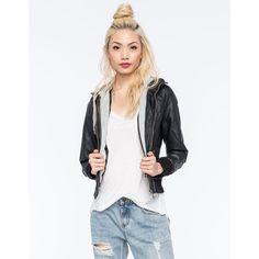 Full Tilt Faux Leather Womens Bomber Jacket ($40) ❤ liked on Polyvore featuring outerwear, jackets, black, black zipper jacket, bomber jacket, cropped jacket, black jacket and black bomber jacket