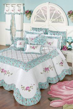 Wake in your very own Rose Garden with this quilted oversized bedspread. The cotton/polyester Grande Bedspread features rose and vine embroidery, vermicelli quilting, a trellis pattern, and a shirred floral print. Quilt Bedding, Bedding Sets, Girl Bedding, White Bedding, Bed Cover Design, Shabby Chic Bedrooms, Bed Sets, Bed Covers, Home Design