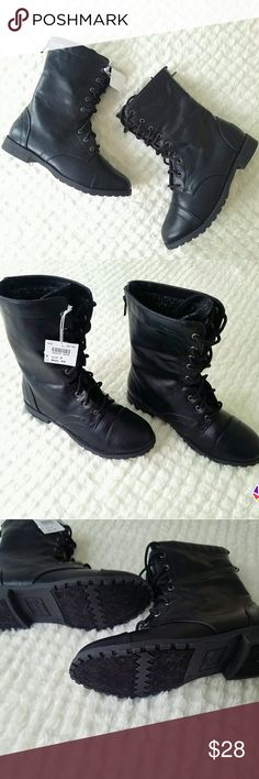$10 If BundledGirls Combat Boots Size 2 NWT This pair of girls combat boots in size 2 is adorable. Brand new with tags and has the Disney Descendants theme. They have a really cute zipper detail down the back. They would make any little girl happy to wear them!  **Must be bundled with one or more items with  to receive discount** Shoes Boots