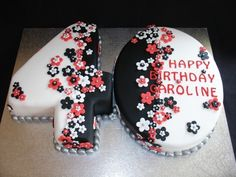 Black, White & Red 40th Fondant Cake