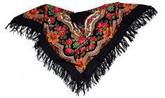 Russisches Tuch ZLATA in schwarz - Fransentuch, Blumentuch aus 100% Wolle, Trachtentuch, russischer Schal / Stola - 100% Original, edel und hochwertig