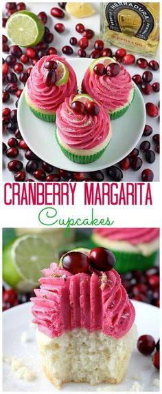 Cranberry Margarita Cupcakes - AMAZING! Fluffy Citrus spiked cupcakes topped with cranberry tequila buttercream. Perfect for the holiday dessert table!