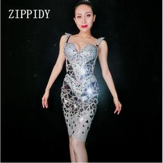 Cheap Dresses, Buy Directly from China Suppliers:Glisten Silver Mirrors Crystals Dress Women's Birthday Celebrate Female Singer Costume Big Stones Wear Sexy Perspective Dresses