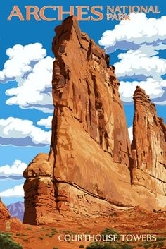 Posters of the National Parks we've visited. Arches National Park, Utah - Courthouse Towers - Lantern Press Poster