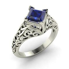 Princess-Cut Sapphire Ring in 14k White Gold