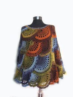 Crochet poncho Multicolor Capelet Boho Poncho Cape | Etsy