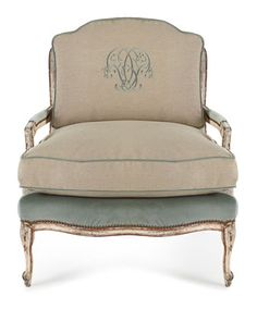 Old Hickory Tannery | Misty Bergere Chair & Ottoman | script embroidery on back cushion | linen/velvet upholstery | down blend seat filler | handcrafted in USA | Chair: $2,899.00 | Ottoman: $1,299.00