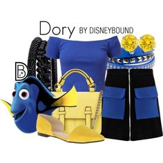 Dory by leslieakay on Polyvore featuring Boohoo, Nine West, Topshop, Spring Street, Lipsy, disney, disneybound and disneycharacter