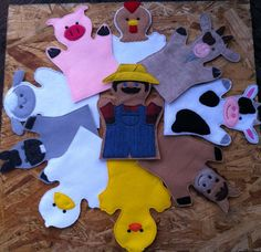 Farm Animals , Felt Puppets , Farm Animal Play Set - Adult, Kid, AND Finger Puppet Sizes - Sold Individually or as a Set Glove Puppets, Felt Puppets, Puppets For Kids, Hand Puppets, Finger Puppets, Felt Crafts, Diy Crafts, Doll Toys, Farm Animals