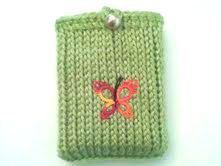 Knit Clover Green Butterfly Gift Card Pouch Apple by KnitBlossom, $9.00